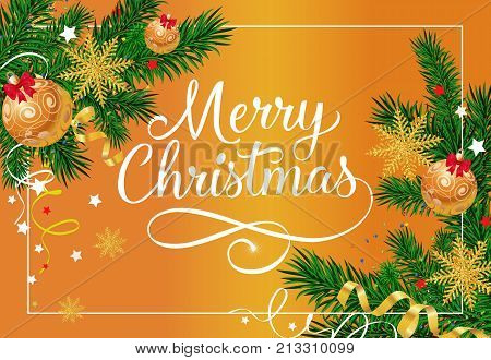 Merry Christmas inscription in frame with fir sprigs decorated with three baubles and snowflakes on orange background. Can be used for postcards, banners, posters.