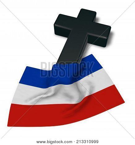 christian cross and flag of schleswig-holstein - 3d rendering