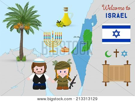 Welcome to Israel, cartoon characters of girl soldier and religious jewish man, traditional israeli symbols set. Vector illustration