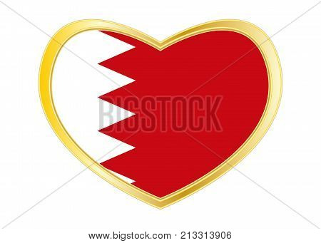 Bahraini national official flag. Patriotic symbol banner element background. Correct colors. Flag of Bahrain in heart shape isolated on white background. Golden frame. Vector