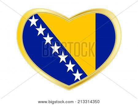 Bosnian and Herzegovinian national official flag. Patriotic symbol banner element. Correct colors. Flag of Bosnia and Herzegovina in heart shape isolated on white background. Golden frame. Vector