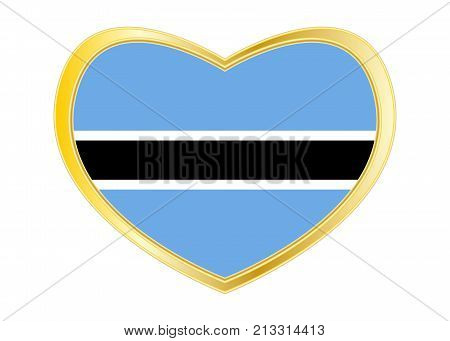 Botswanan national official flag. African patriotic symbol banner element background. Correct colors. Flag of Botswana in heart shape isolated on white background. Golden frame. Vector