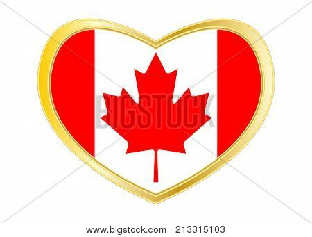 Canadian national official flag. Patriotic symbol banner element background. Correct colors. Flag of Canada in heart shape isolated on white background. Golden frame. Vector