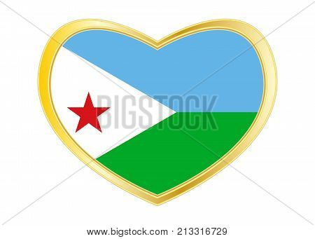 Djiboutian national official flag. African patriotic symbol banner element background. Correct colors. Flag of Djibouti in heart shape isolated on white background. Golden frame. Vector