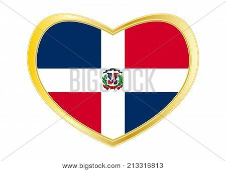 Dominican Republic national official flag. Patriotic symbol banner element background. Correct colors. Flag of Dominican Republic in heart shape isolated on white background. Golden frame. Vector