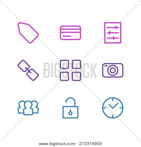 Editable Pack Of Label, Photo Apparatus, Payment And Other Elements.  Vector Illustration Of 9 Annex Outline Icons.
