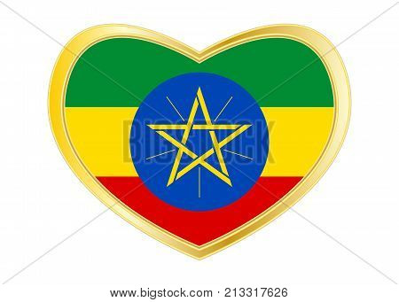 Ethiopian national official flag. African patriotic symbol banner element background. Correct colors. Flag of Ethiopia in heart shape isolated on white background. Golden frame. Vector