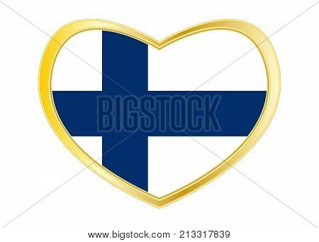 Finnish national official flag. Patriotic symbol banner element background. Correct colors. Flag of Finland in heart shape isolated on white background. Golden frame. Vector