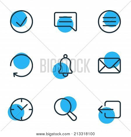 Editable Pack Of Reload, List, Done And Other Elements.  Vector Illustration Of 9 Annex Outline Icons.