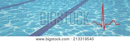 Heartbeat. Heart Rhythm Ekg, Ecg Underwater Background. Health Concept.