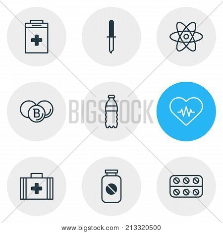 Editable Pack Of Plastic Bottle, Aspirin, Medical Bag And Other Elements.  Vector Illustration Of 9 Medical Outline Icons.