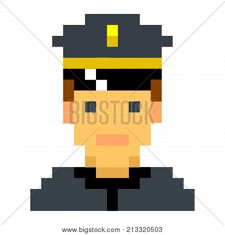 Police officer sheriff cop pixel art cartoon retro game style