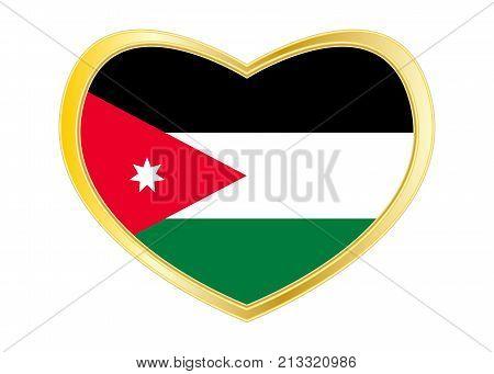 Jordan national official flag. Patriotic symbol banner element background. Correct colors. Flag of Jordan in heart shape isolated on white background. Golden frame. Vector