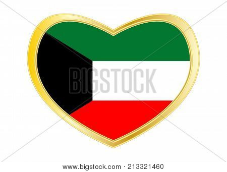 Kuwait national official flag. Patriotic symbol banner element background. Correct colors. Flag of Kuwait in heart shape isolated on white background. Golden frame. Vector