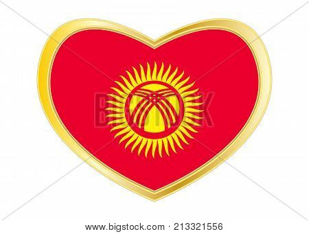 Kyrgyzstani national official flag. Patriotic symbol banner element background. Correct colors. Flag of Kyrgyzstan in heart shape isolated on white background. Golden frame. Vector