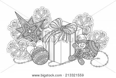 Monochrome New Year Illustration With Gifts And Christmas Tree