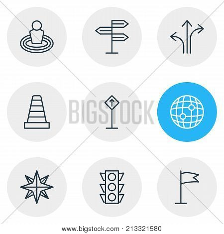 Editable Pack Of Orientation, Guidepost, Pennant And Other Elements.  Vector Illustration Of 9 Direction Outline Icons.
