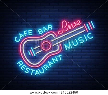 Live music neon sign vector, poster, emblem for live music festival, music bars, karaoke, night clubs. Template for flyers, banners, invitations, brochures and covers.