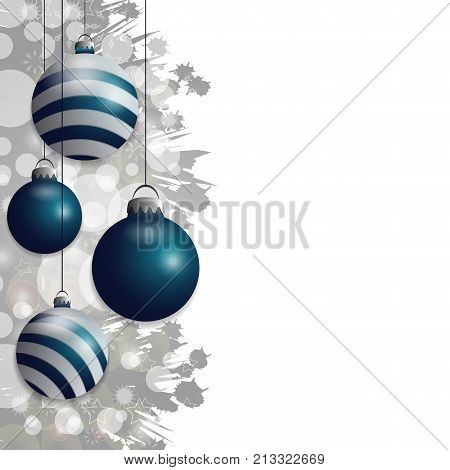 Silver Christmas background with hung blue baubles. Decorative balls elements for holiday design. Vector illustration.