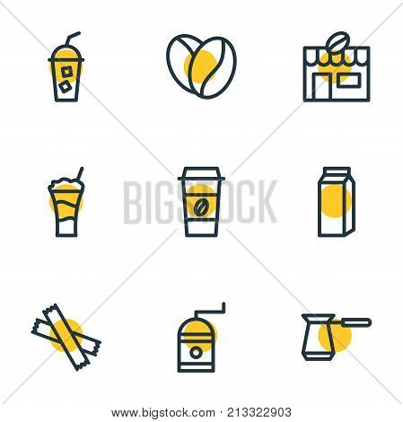 Editable Pack Of Paper Box, Turkish, Sweetener And Other Elements.  Vector Illustration Of 9 Coffee Outline Icons.