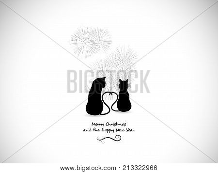 Silhouettes of two cats in love and fireworks