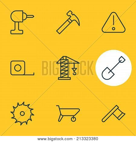 Editable Pack Of Hatchet, Electric Screwdriver, Circle Blade And Other Elements.  Vector Illustration Of 9 Structure Outline Icons.