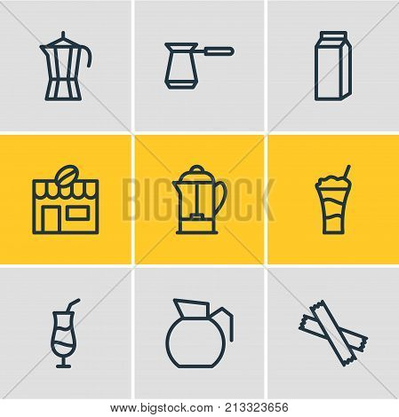 Editable Pack Of Mocha, Sweetener, Coffeemaker And Other Elements.  Vector Illustration Of 9 Java Outline Icons.