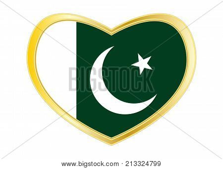 Pakistani national official flag. Patriotic symbol banner element background. Correct colors. Flag of Pakistan in heart shape isolated on white background. Golden frame. Vector