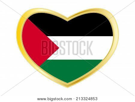 Palestinian national official flag. Patriotic symbol banner element background. Correct colors. Flag of Palestine in heart shape isolated on white background. Golden frame. Vector
