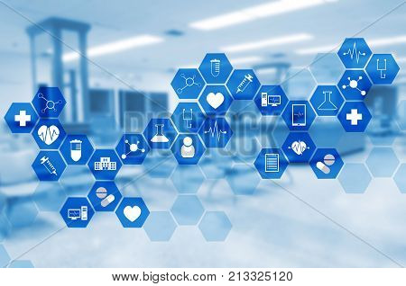 medical icon in hexagonal shaped pattern on blurred hospital background science health care and medical technology concept blue color tone