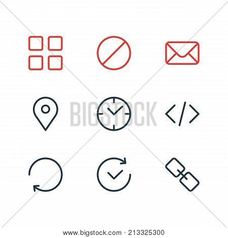 Editable Pack Of Url, Letter, Reload And Other Elements.  Vector Illustration Of 9 Annex Outline Icons.