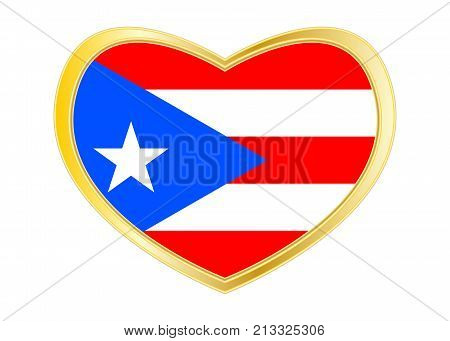 Puerto Rican national official flag. Patriotic symbol banner element background. Correct colors. Flag of Puerto Rico in heart shape isolated on white background. Golden frame. Vector