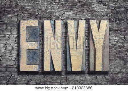 Envy Word Burned Wood