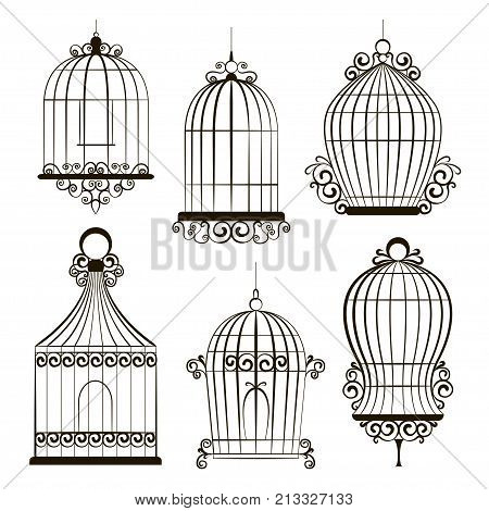 Vintage birdcages collection. Isolated on white. Clipart Vector