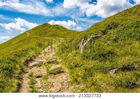 Path Uphill To The Peak Of Mountain Ridge