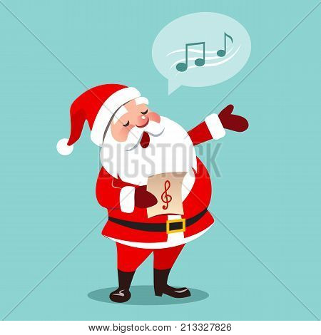 Vector cartoon illustration of Santa Claus singing Christmas carols, musical notes in speech bubble isolated on aqua blue background contemporary flat style