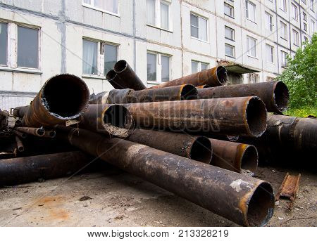 Old pipes left after the modernization of the city's heating and water supply system