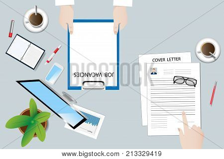 Top view of the office desk with office equipment. Personnel manager has a folder with job vacancies job seeker has a CV and cover letter.