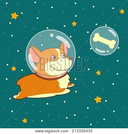 Cute smiling dog dressed in spacesuit is flying in outer space using, on starry space background. Science and fiction concept, vector illustration