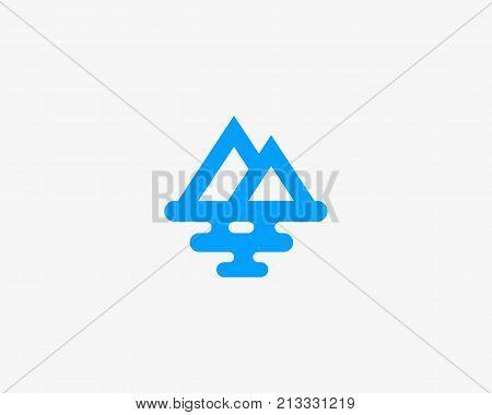 Mountain sea travel logo design. Creative modern tourist line vector logotype