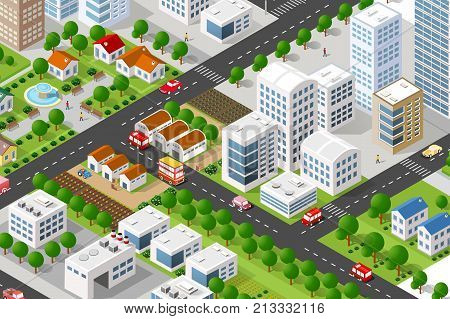 Isometric 3D building city green concept private municipal real estate. Home collection hotel gardens architecture cityscape. Green tree buildings map Illustration elements set business vector game