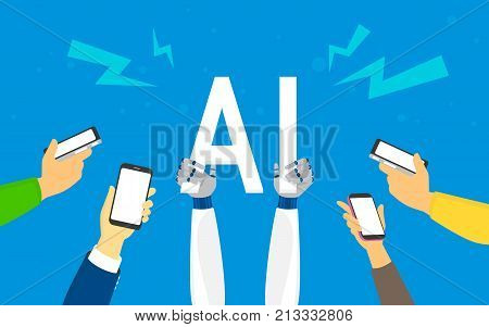 Flat robotic hands hold big AI symbol. Artificial Intelligence concept illustration of young men and women using smartphones happy to have an ai app in smartphone or other devices