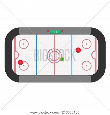 Hockey air table game vector illustration. Isolated entertainment competition match sport