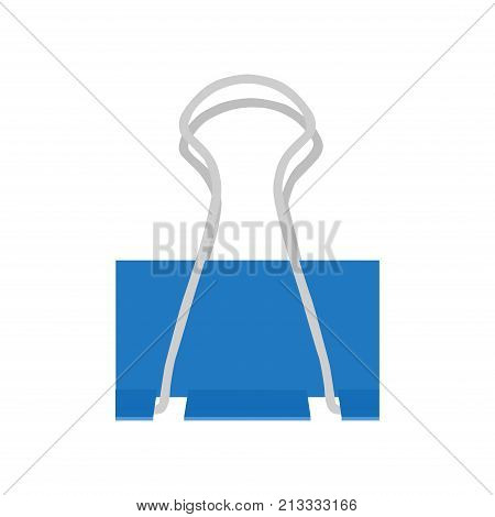 Clip binder paper vector isolated white background. Metal paperclip business office sign icon. Note tool document illustration