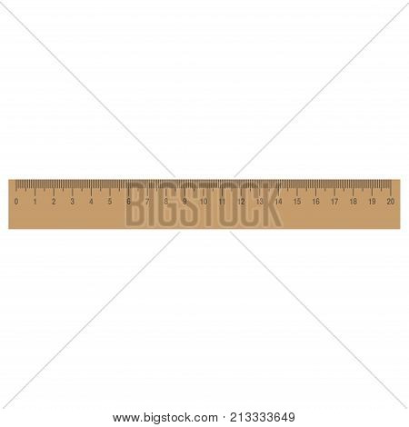 Ruler vector icon isolated measure illustration scale. School tool inch measurement centimeter flat