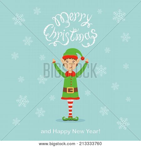 Happy elf and falling snowflakes with text Merry Christmas and Happy New Year on blue background, illustration.
