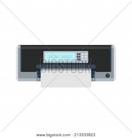 Printer icon vector machine print office illustration. Isolated paper flat technology document design. Printout machine ink