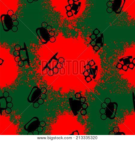 Metal Knuckles Silhouette Seamless Pattern on Red Background