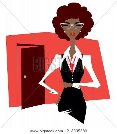 African business woman in a suit and glasses points a finger at the door. Dismissal.