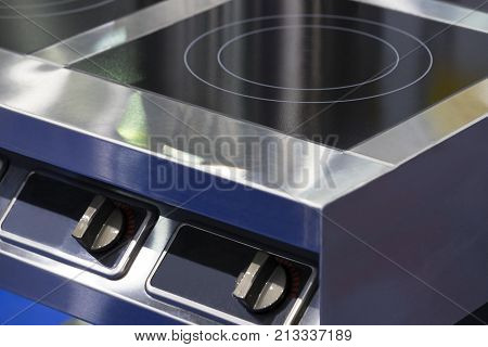 The metal surface of the cooking plate